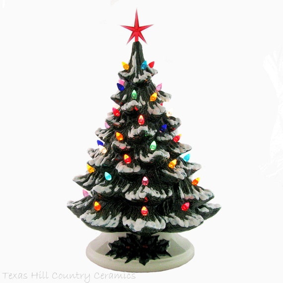 T'was the Night Before Christmas Ceramic Christmas Tree 18 Inch Tall Snow Tipped Branches Colorful Lights with Star on Top - Made to Order