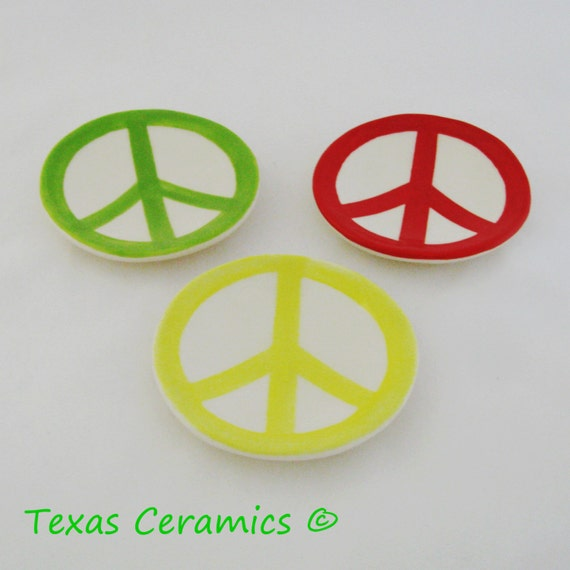 Ceramic Tea Bag Holder with Peace Sign Symbol from the 60's  Pick Your Color Red Yellow or Light Green