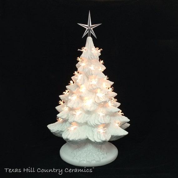 Winter White Ceramic Christmas Tree with Clear Dove Bird Lights and Modern Star 16 Inch Tall Tabletop Style Electric Lighted Base