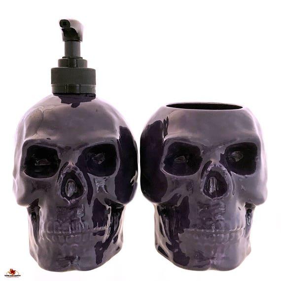 Ceramic Skull Soap Dispenser and Toothbrush Holder Set Purple for Bath Vanity or Kitchen Dish Soap Dispenser or Small Planter Shop of Skulls