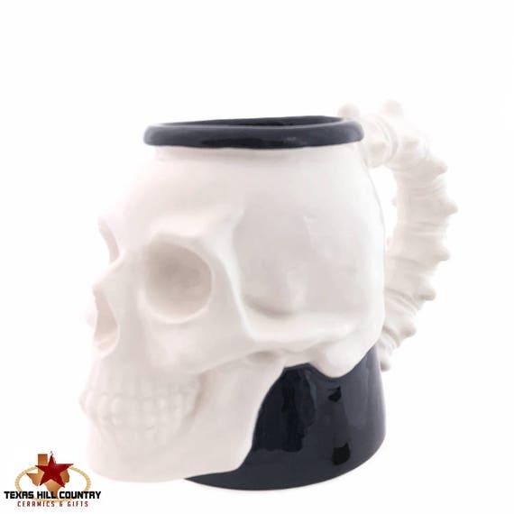 Skull Mug Large Tankard for Your Favorite Brew with Vertebra Spine Handle in Black and White