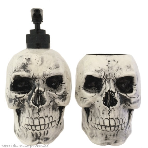 Black Antiqued Skull Soap Dispenser and Ceramic Toothbrush Holder Set for Bath Vanity or Kitchen Decor, Halloween, Horror or Pirate Decor