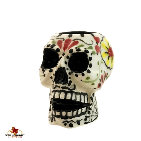 Sugar Skull Toothpick Holder for Kitchen Ceramic Dining Table Accent Tiny Planter Hand Painted Original Folk Art Day of the Dead Design