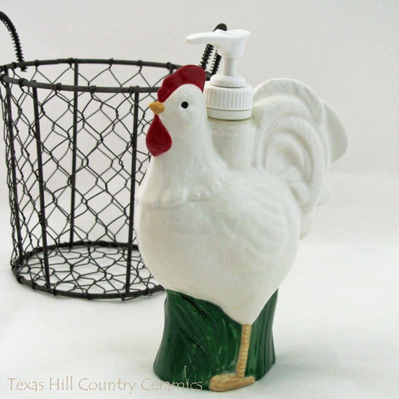 Chicken Feathers Collection Tall White Ceramic Rooster Pump Dispenser for Liquid Soap or Lotion Ceramic Kitchenware