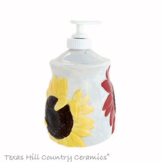 Ceramic Sunflower Soap Dispenser for Kitchen Counter or Bathroom Vanity Country Farmhouse Decor