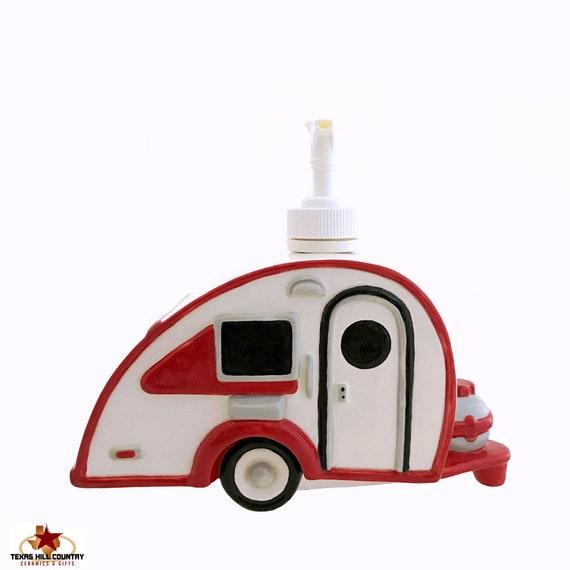 Teardrop Travel Trailer Soap Dispenser, Vintage Style RV Camping Decor for Bath Vanity, Nostalgic Route 66 Vacation Road Trip Adventures