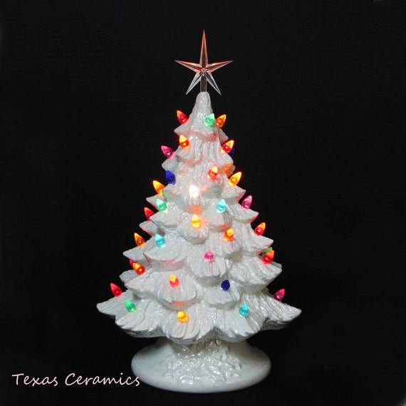 White Ceramic Christmas Tree with Mother of Pearl Finish 16 Inch Tall Tabletop Style Electric Lighted Base Colorful Lights Modern Style Star