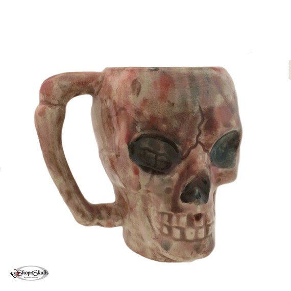 Skull Mug Rustic Color Wash Bone Style Handle 8 Oz Coffee Cup for Hot or Cold Beverages - Ready to Ship