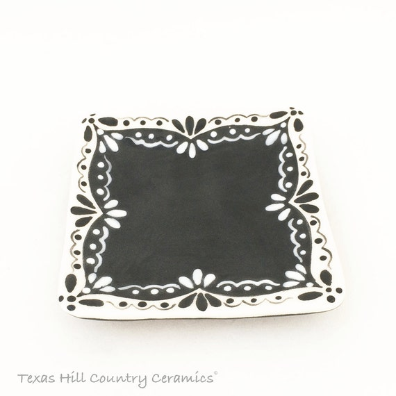 Square Ceramic Tea Bag Holder With Black and White Eyelet Lace Design Small Spoon Rest Trinket Tray with Black Accent