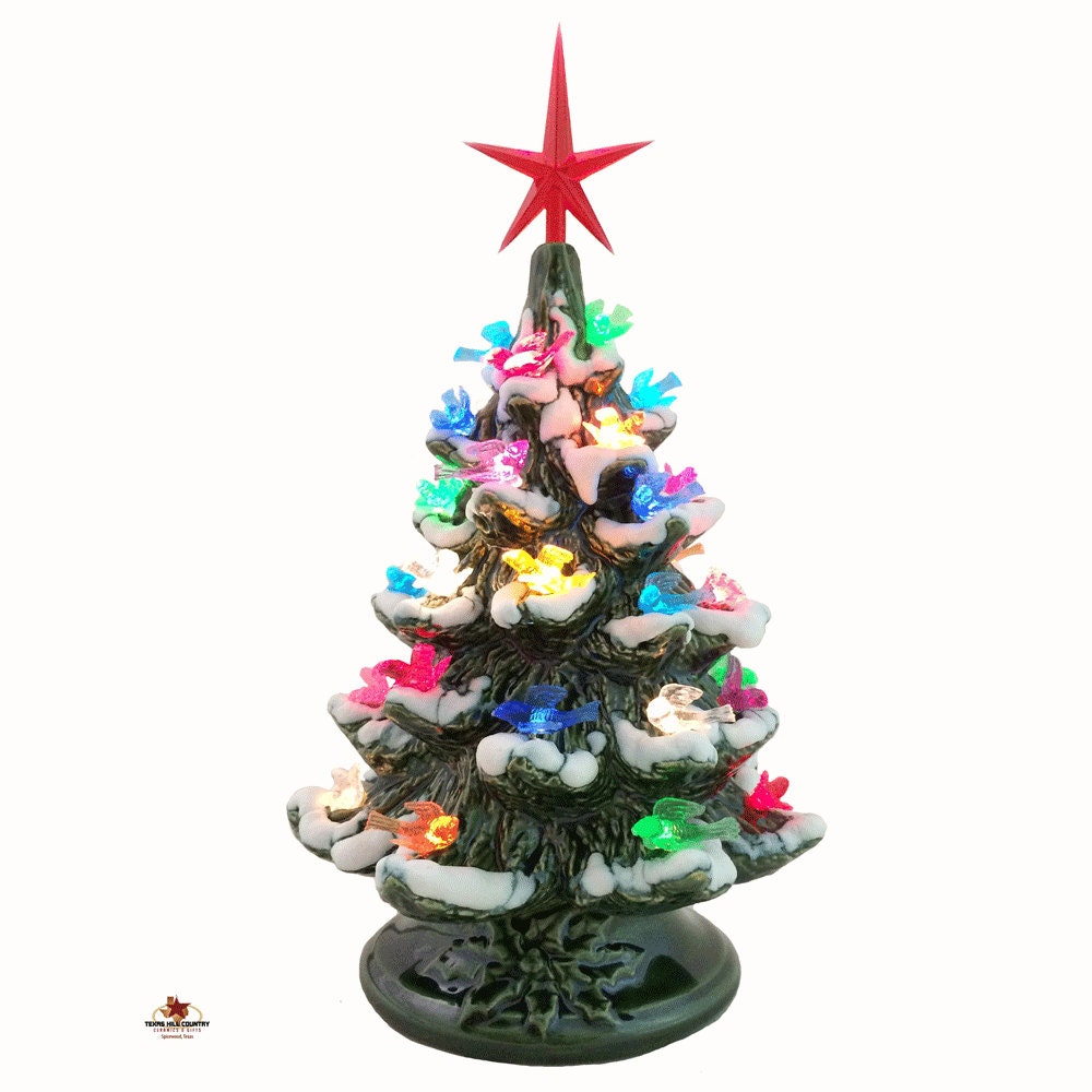 Holiday Doves Ceramic Christmas Tree with Snow Tips 8 1/2 ...