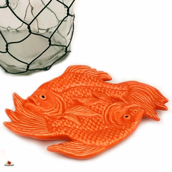 Exotic Ceramic Orange Koi Fish Goldfish Ceramic Personal Tea Bag Holder Small Tray Spoon Rest Kitchen Table Setting Decor Bath Vanity Dish