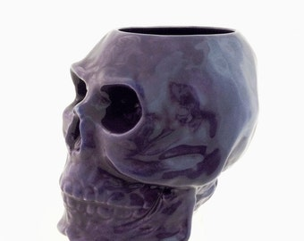 Purple Ceramic Skull Holder for Toothbrushes on Bath Vanity Flower Planter Pencil or Tool & Brush Caddy or Small Kitchen Container