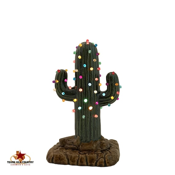Small Cactus Ceramic Christmas Tree with Color Lights & Electric Base 8 Inch Tall Southwest Arizona Rustic Desert Decor, Christmas Gift