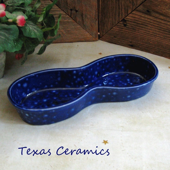 Blue Personal Eyeglass Tray Round Figure Eight Style for Home or Office Classic Ceramic Design with Blue Lagoon Lead Free Glaze