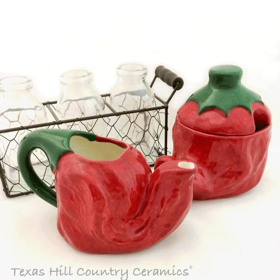 Ceramic Red Chili Pepper Cream Pitcher and Sugar Bowl Set, Red Pepper Salsa Serving Set, Southwest New Mexico Dining Decor - Made to Order