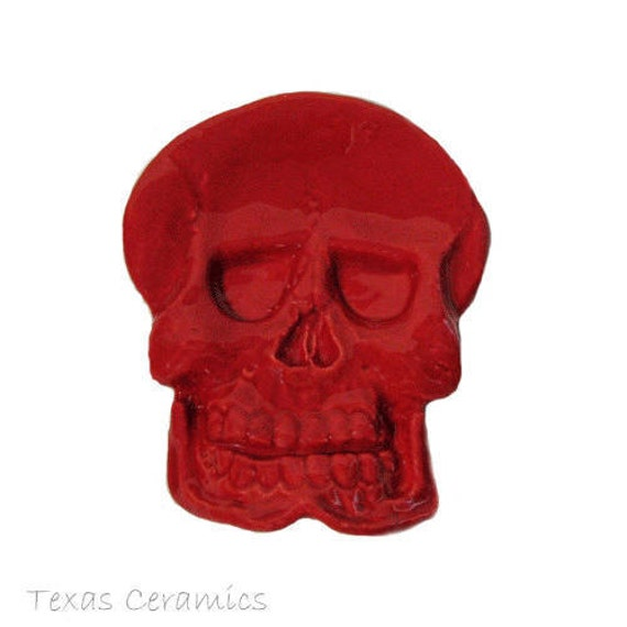 Skull Tea Bag Holder Ceramic Spoon Rest or Desk Accessory in Bright Red Made in the USA
