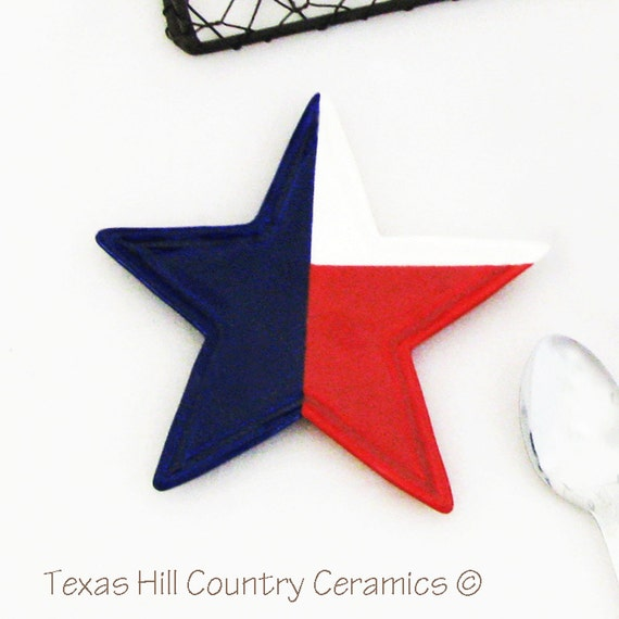 Texas Lone Star Tea Bag Holder Patriotic Red White Blue Star Shape Ceramic Kitchen Decor Desk Accessory July 4th Memorial Day Celebrations