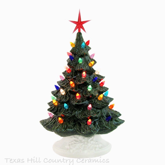 Say Merry Christmas with a Ceramic Christmas Tree 16 Inch Tall Big Tabletop Style - Made to Order