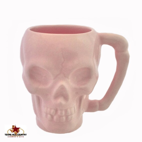 Ceramic Skull Mug in Soft Pink with Bone Style Handle for Coffee or Tea Hot And Cold Beverages Lead Free Glaze Made in the USA