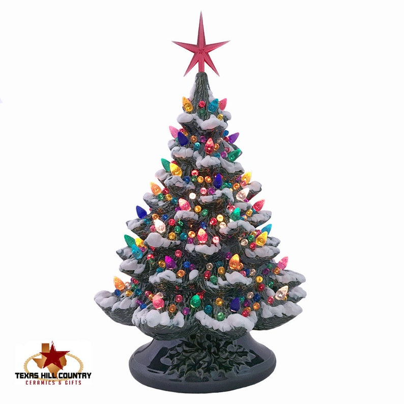 Ceramic Christmas Tree With Snow With Lots Of Color Lights And Etsy
