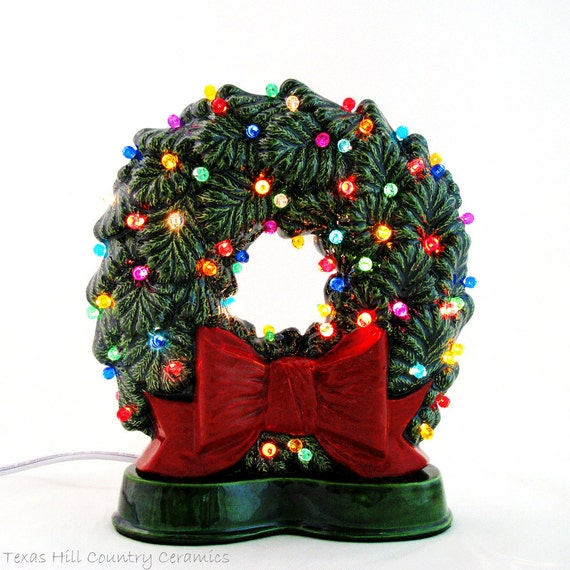 Christmas Wreath with Big Red Bow Multi Color Lights for Window Sill, Narrow Shelf, Fire Place Mantel Double Sided Electric Lights