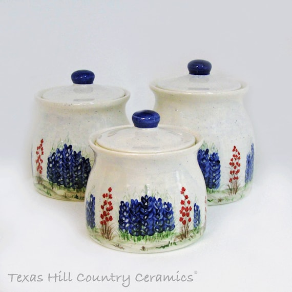 Thrown Pottery Style Ceramic Canister Set With Texas Bluebonnets Indian Paintbrush Wildflowers 3 Piece Kitchen Canister Set - Made to Order
