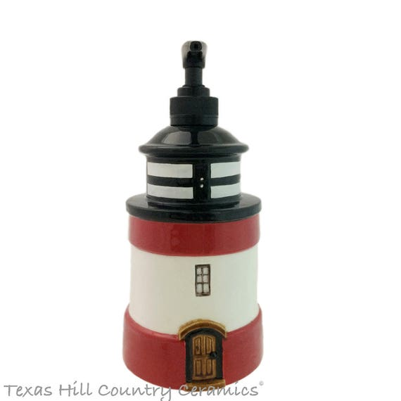 Tall Lighthouse Ceramic Soap Dispenser Seaside Nautical Decor for Kitchen Counter Beach Cottage Bath Vanity Red White Black Accent