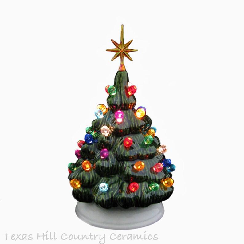 Mini Ceramic Christmas Tree Traditional Green Tree With White Etsy