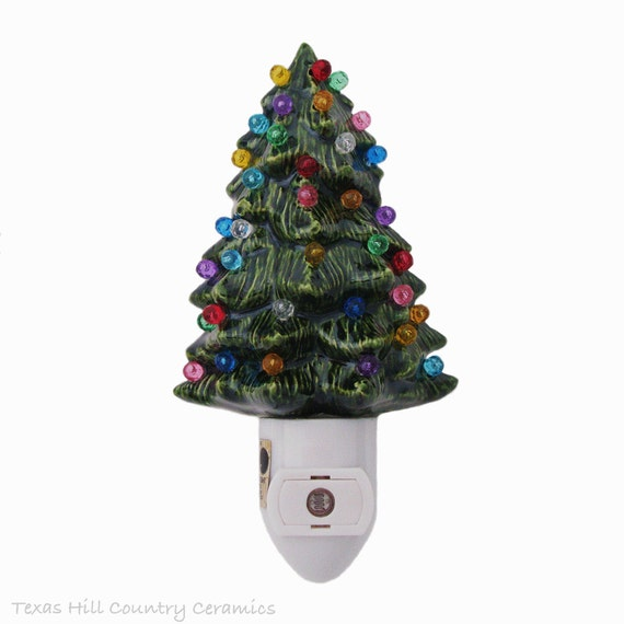 Little Green Ceramic Christmas Tree Night Light Color Globes on Light Sensitive Automatic Switch Stocking Stuffer Holiday Gift - Made in USA