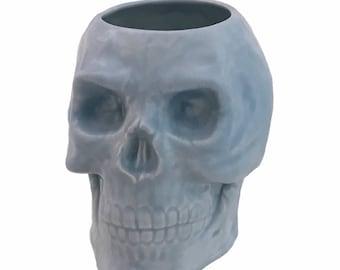 Ceramic Skull Holder Light Blue for Toothbrushes on Bath Vanity, Skull Planter, Skull Desk Pencil Tool & Brush Caddy, Kitchen Container