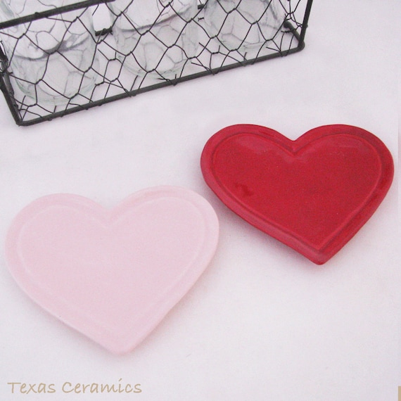 Red or Soft Pink Heart Ceramic Valentine's Day Heart Tea Bag Holder, Small Spoon Rest, Treasure Tray for Jewelry or Trinkets Gift Giving