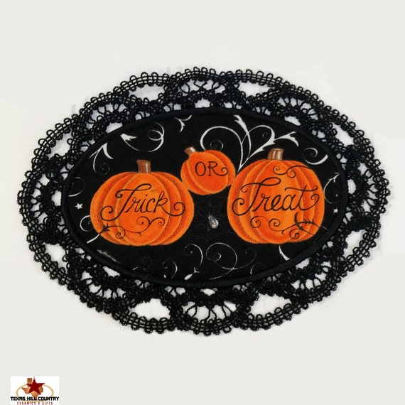 Black Oval Lace Doily with Trick or Treat Pumpkin Design Fabric Inset, Embroidered Accent for Fun Haunted House Halloween Decor Made in USA