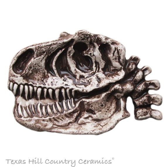 Discover a Prehistoric T-Rex Fossil Skull Disguised as a Ceramic Tea Bag Holder Small Spoon Rest, Desk or Dresser Accessory