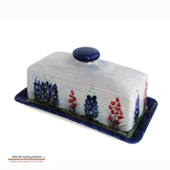 French Country Rectangle Butter Dish Set with Hand Painted Texas Bluebonnets Wildflowers - Made to Order in the Texas Hill Country