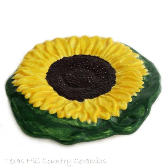 Yellow Sunflower Spoon Rest Kitchen Ceramic Catch All Bath Vanity or Desk Accessory for Office Kansas State Flower Spring Kitchen Decor