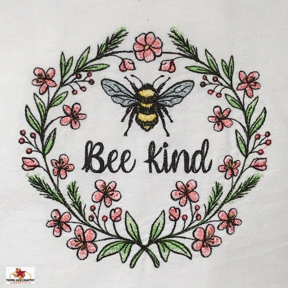 Bee Kind Floral Wreath White Cotton Kitchen Towel with Embroidered Design, Spring Flower Wreath with Honey Bee in Center