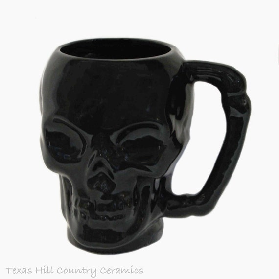 Ceramic Black Skull Mug or Cup with Bone Style Handle for Coffee or Tea Hot And Cold Beverages