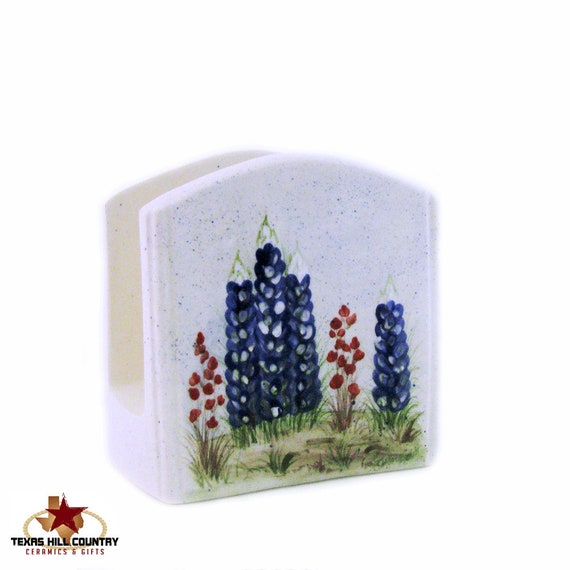 Ceramic Napkin Holder or Letter Holder with Hand Painted Texas Bluebonnet Wildflowers Hand Made Original Design