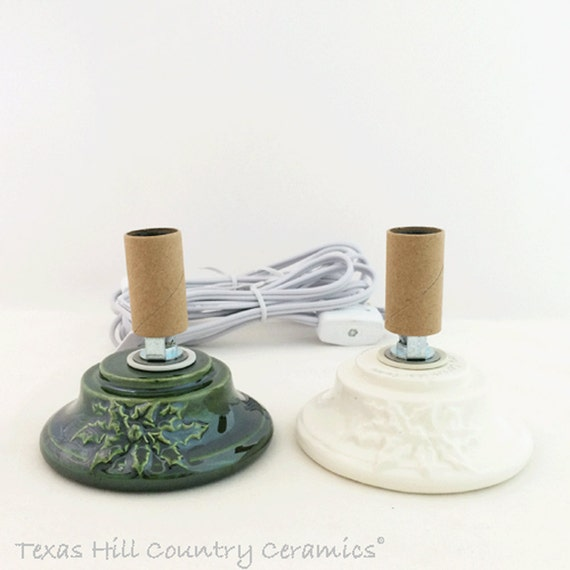 Small Mini Electric Replacement Base Holly Embossed Design on Front Use for Little Ceramic Christmas Trees Green or White - Made to Order