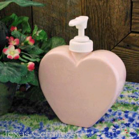 Pink Heart Soap Dispenser, Valentine's Day Heart Dispenser for Bath Vanity, Perfect I Love You Gift