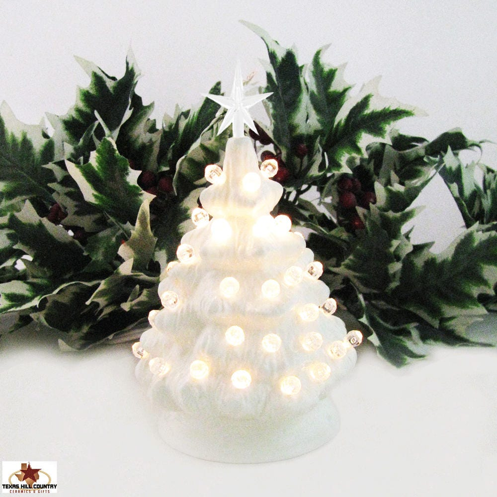 miniature white ceramic christmas tree with clear lights and star 6 inch tall electric lighted tree