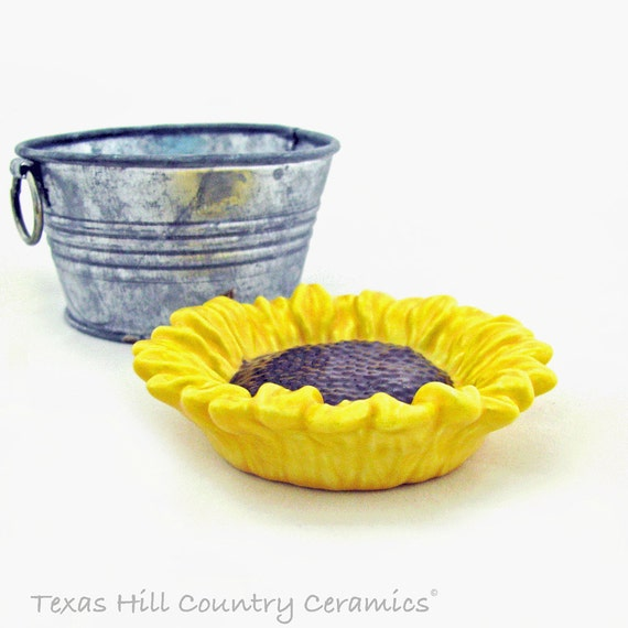 Sunflower Tea Bag or Small Spoon Rest, Coffee Pod Holder Ceramic Catch All or Desk Accent Teabag Rest Trinket Tray Small Dish