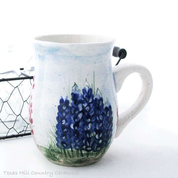 Ceramic Mug, Thrown Pottery Style Mug, Hand Painted Texas Bluebonnet Wildflowers, Handmade in Texas Hill Country - Made to Order