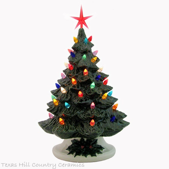 Celebrating the Holidays with a Ceramic Christmas Tree 16 Inch Tall Big Tabletop Style - Made to Order