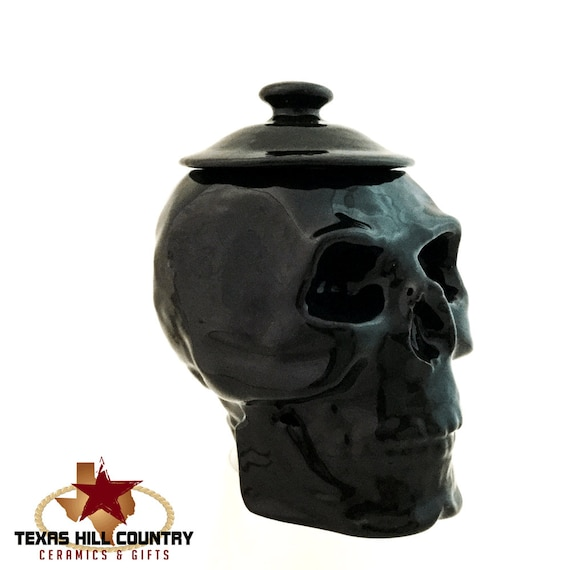 Ceramic Skull Sugar Bowl with Lid, with Ceramic Skull Spoon Rest Dining or Tea Set Serving Accent Kitchen Counter Decor