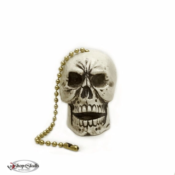 Skull Fan Pull, Human Skull Light Pull or Shade Pull with Ball Chain and Fastener Hand Made in the USA