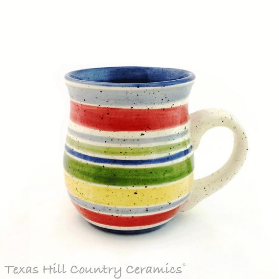 Ceramic Mug Thrown Pottery Style Mug Banded in Colors Inspired by the Desert Southwest Handmade in Texas USA