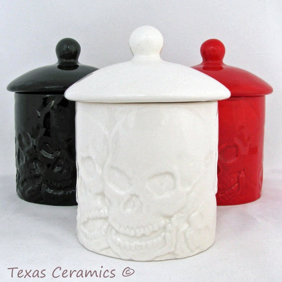 Small Round Container and Lid with Skull Design, Kitchen Skull Ware Sugar Bowl Salt Canister Candy Holder or Bath Vanity Container