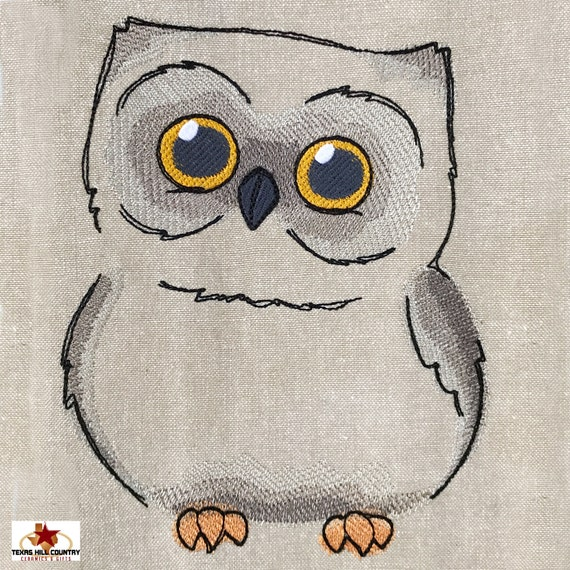 Wide Eye Baby Owl Embroidered Design on Natural Cotton Kitchen Towel with Mini Pom Pom Fringe Trim, Made in Texas USA