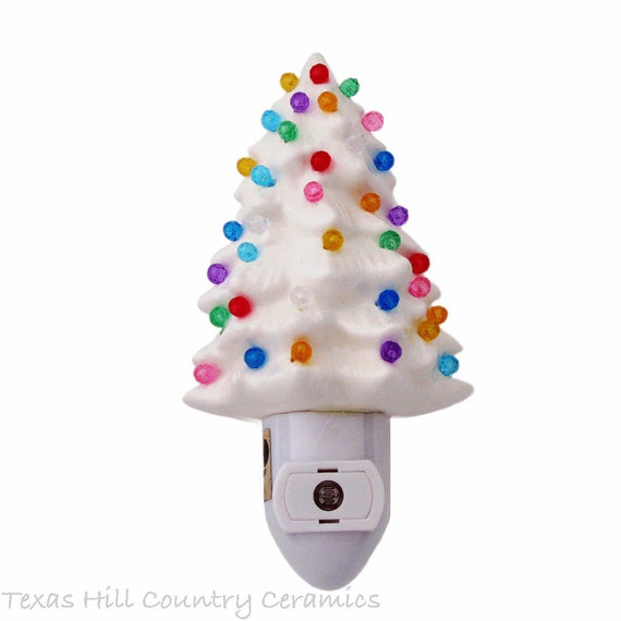 White Ceramic Christmas Tree Night Light Automatic Light Sensitive Switch Colorful Round Faceted Globe Lights Made in USA